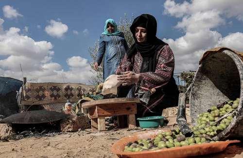 زن فلسطینی در حال پخت نان – خان یونس باریکه غزه