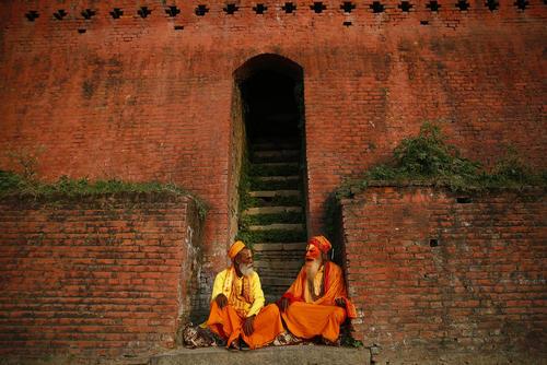 مردان مقدس بودایی در معبدی در شهر کاتماندو نپال