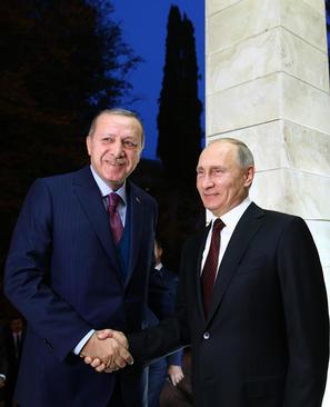 دیدار اردوغان و پوتین در اقامتگاه رییس جمهور روسیه در شهر بندری سوچی روسیه
