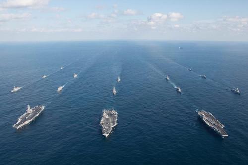 ناوهای هواپیمابر آمریکا در رزمایش مشترک دریایی با نیروی دریایی کره جنوبی در آب های اقیانوس آرام