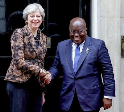 دیدار رییس جمهور غنا با نخست وزیر بریتانیا در مقر نخست وزیری در لندن