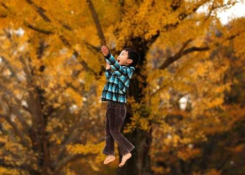بازی پسربچه ای 6 ساله در پارکی در توکیو