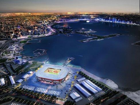 تصویر شبیه سازی شده از سوی کمیته عالی برگزاری جام جهانی 2022 قطر از استادیوم 40 هزار نفری در حال ساخت در دوحه
