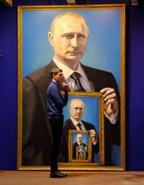 یک تابلوی نقاشی از ولادیمیر پوتین در نمایشگاهی تحت عنوان