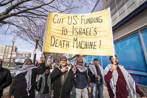 گردهمایی جمعیت 150 نفره حامی فلسطین در شهر آتلانتا آمریکا در محکومیت اقدام ترامپ در شناسایی شهر قدس به عنوان پایتخت اسراییل