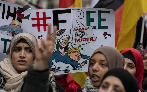 راهپیمایی فلسطینیها در شهر فرانکفورت آلمان در محکومیت اقدام ترامپ