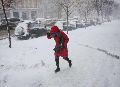 بارش برف در پایتخت اوکراین