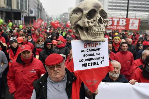 تظاهرات اتحادیه های کارگری بلژیک در اعتراض به افزایش سن بازنشستگی به 67 سال – بروکسل