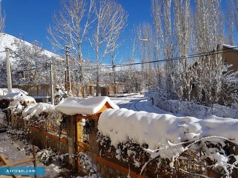 بارش برف در روستای سفچ خانی- استان البرز