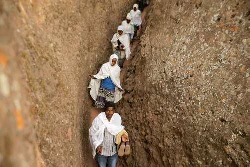 مراسم کریسمس مسیحیان ارتدوکس اتیوپی در شهر لالیبلا
