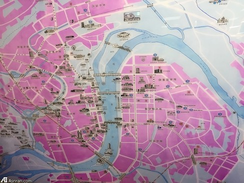 نقشه پیونگ یانگ، پایتخت کره شمالی در مرکز پایش نصب شده است