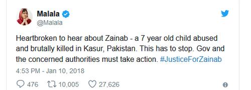واکنش توییتری ملاله یوسف زی به ماجرای زینب