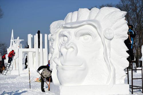 نمایشگاه سالانه سازههای برفی و یخی در هاربین چین