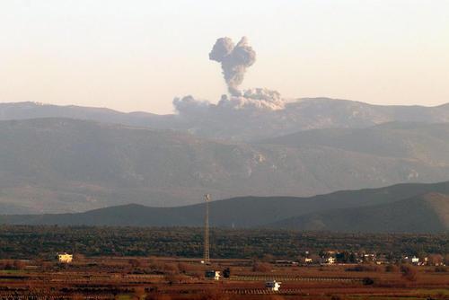حمله ترکیه به مواضع نیروهای کرد سوری در شهر عفرین در شمالغرب سوریه/عکس:شینهوا