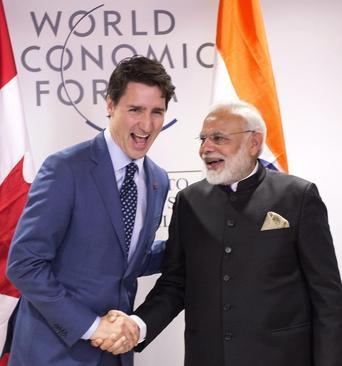 دیدار نخست وزیران کانادا و هندوستان در حاشیه نشست سالانه مجمع اقتصاد جهانی در داووس سوییس
