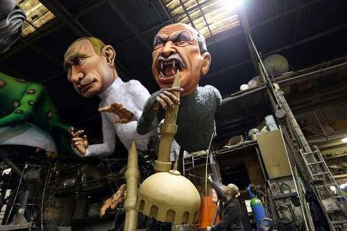 آدمکهای پوتین و اردوغان برای کارناوال سالانه شهر نیس فرانسه/ عکس: خبرگزاری فرانسه