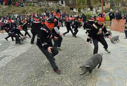 مسابقه گرفتن خوک با چشمان بسته بین زنان اقلیت قومی میائو در روستایی در چین