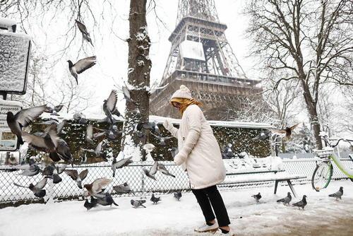 بارش برف در پاریس