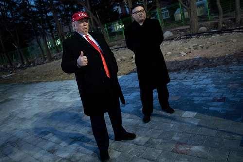 بدل های شبیه به دونالد ترامپ و کیم جونگ اون رهبران آمریکا و کره شمالی در مراسم افتتاحیه المپیک زمستانی پیونگ چانگ