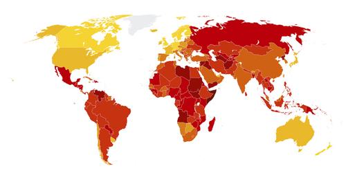 نقشه جهانی میزان فساد در 180 کشور جهان؛ هر چه پررنگ تر فساد بیشتر