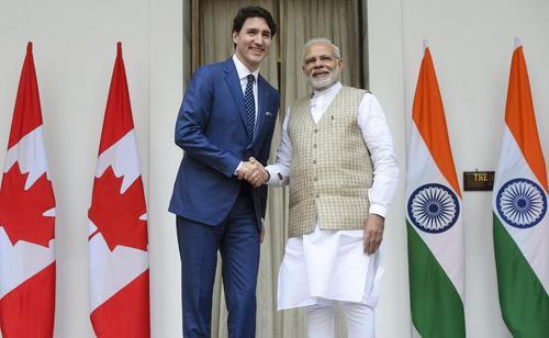 دیدار نخستوزیران هند و کانادا در شهر دهلینو
