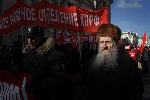 تظاهرات حزب کمونیست در روز سرزمین پدری روسیه - مسکو