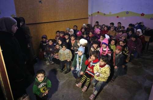 یک کلاس درس در غوطه شرقی دمشق سوریه/ عکس: خبرگزاری فرانسه