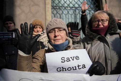 تظاهرات همبستگی با مردم غوطه شرقی شهر دمشق سوریه در شهر کراکف لهستان