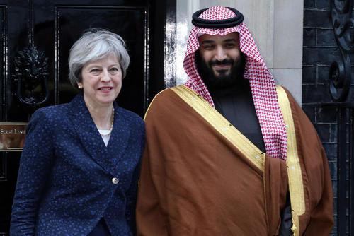 استقبال نخست وزیر بریتانیا از ولیعهد سعودی در مقر نخست وزیری در لندن