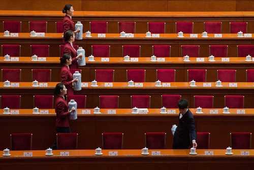 سالن محل برگزاری نشست شورای ملی چین (پارلمان) - خبرگزاری فرانسه