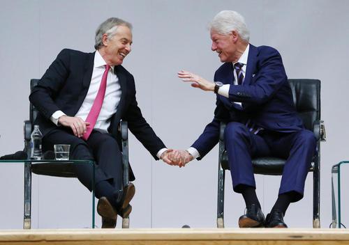 رهبران اسبق آمریکا و بریتانیا در مراسم بیستمین سالگرد