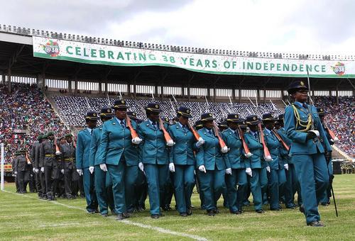 تمرین رژه سی وهشتمین سالگرد استقلال کشور زیمبابوه