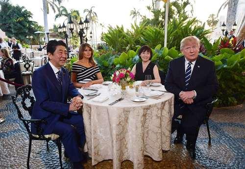 مراسم شام رهبران آمریکا و ژاپن در تفرجگاه