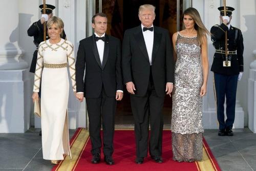 مراسم شام رسمی ترامپ به افتخار همتای فرانسوی در کاخ سفید