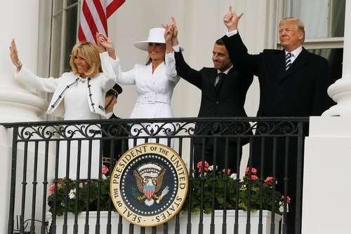 مراسم استقبال رسمی از ماکرون در کاخ سفید