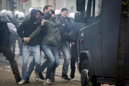 به آشوب کشیده شدن یک بازی فوتبال در بلژیک