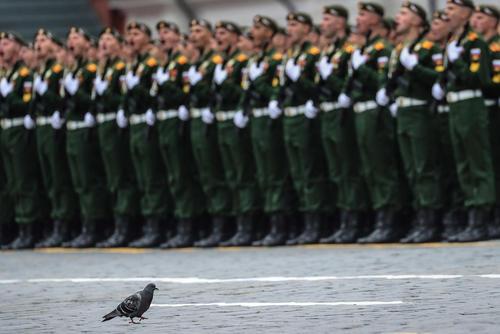 تمرین رژه ارتش روسیه در هفتادوسومین سالگرد پیروزی ارتش سرخ بر آلمان نازی در میدان سرخ مسکو