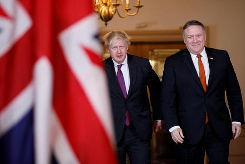 دیدار وزرای امور خارجه آمریکا و بریتانیا در مقر وزارت خارجه آمریکا در واشنگتن