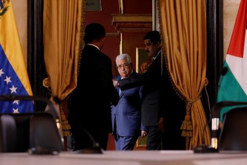 دیدار رهبران فلسطین و ونزوئلا در کاخ ریاست جمهوری ونزوئلا در شهر کاراکاس