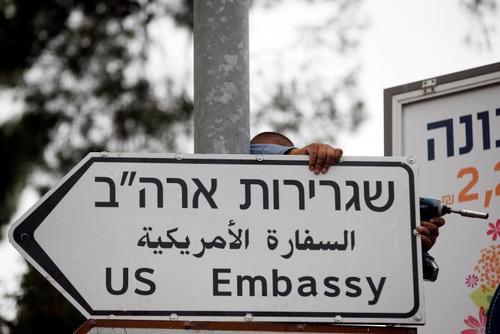 تابلوی جدید سفارت آمریکا در شهر قدس