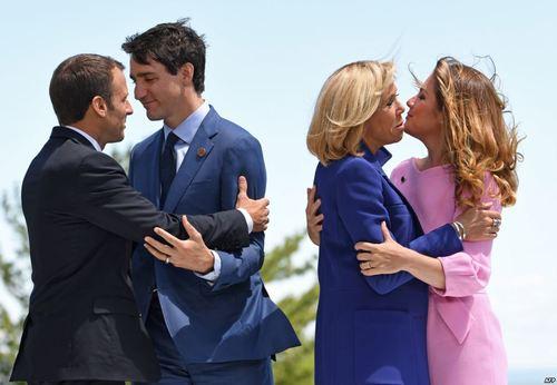 خوش و بِش رهبران کانادا و فرانسه در نشست سران گروه هفت کشور صنعتی – جی هفت- در کبک کانادا