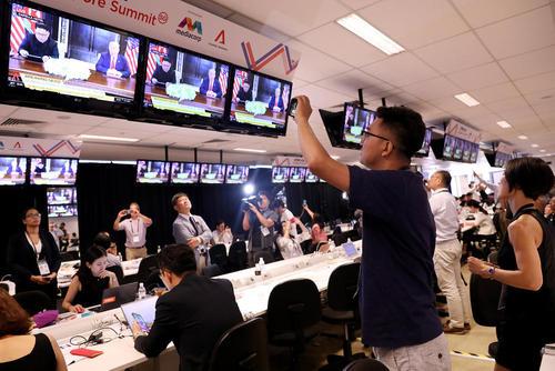 سالن پوشش خبری دیدار تاریخی سران آمریکا و کره شمالی در سنگاپور