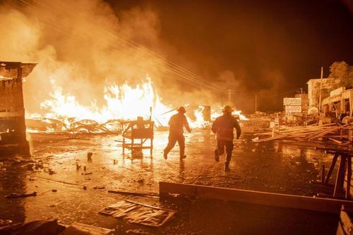 آتش سوزی شبانه در بازار شهر پورتوپرنس پایتخت هاییتی
