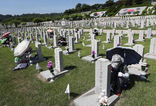 تمیز کردن مقابر کشتهشدگان جنگ دو کره در گورستان ملی شهر سئول همزمان با شصت و هشتمین سالگرد آغاز جنگ دو کره/ خبرگزاری یونهاپ