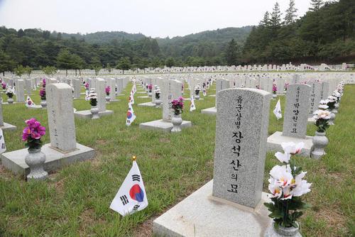 گل گذاشتن کنار قبر سربازان جنگ دو کره در شصت و هشتمین سالگرد آغاز این جنگ/ سئول