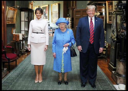 دیدار ترامپ و همسرش با ملکه بریتانیا در قلعه وینسور در حومه لندن