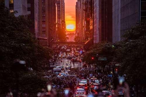 تماشای غروب خورشید در منهتن نیویورک