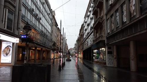 پیاده رو توریستی منتهی به میدان جمهوری ساعت 5:30 صبح - بلگراد