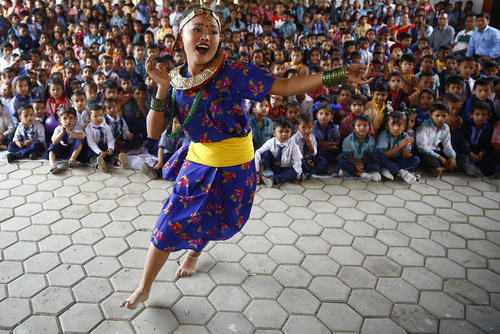 مراسم روز معلم در مدرسهای در کاتماندو نپال