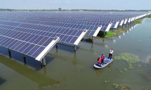 ترکیب نیروگاه برق خورشیدی با صنایع پرورش ماهی در چین